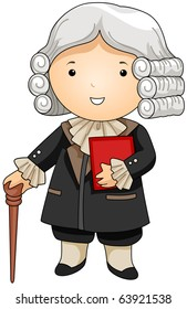 Illustration of a Man Dressed as a French Judge