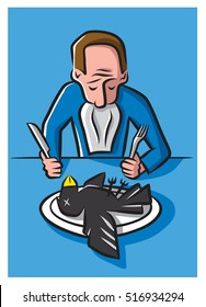 Illustration of a man eating crow –  suffering the humiliation of being proven wrong after taking a strong position.