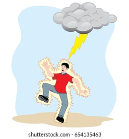 Illustration, man electrocuted by a natural ray. Ideal for catalogs, safety and educational information