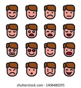 illustration of the man emoji set icons on the white background