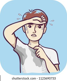 Illustration of a Man with Excessive Sweating Wiping Forehead with Wet Underarms and Chest