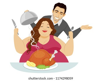 Illustration of a Man Feeding His Lover Whole Roasted Chicken or Turkey. Fat Fetishism Subculture