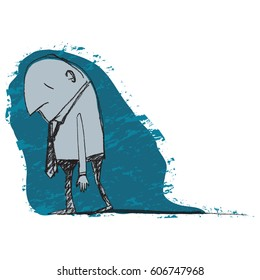 Illustration of a man feeling down and dejected. Hand-drawn in pencil and converted to vector with grunge background.