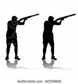 illustration of a man firing . black and white drawing, white background