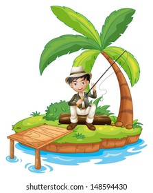 Illustration of a man fishing in the island on a white background