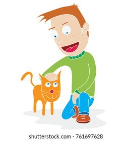 illustration of a man and his tame cat