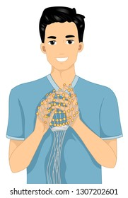 Illustration of a Man Holding an Electroencephalography Monitoring Cap