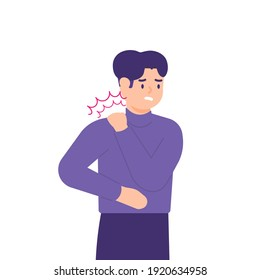 illustration of a man holding his neck because his neck feels stiff and sore. experiencing neck pain, muscle pain, osteoarthritis, pinched nerves, rheumatism, and fibromyalgia. flat style design