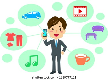 Illustration of a man holding a smartphone image of a subscription