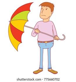 illustration of a man holding umbrella