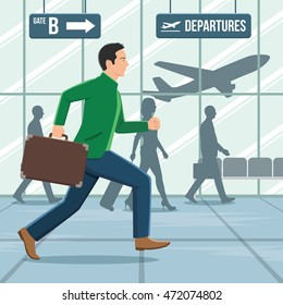 Illustration of a man with luggage running in a hurry in airport terminal