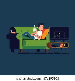 Illustration of man lying on sofa in front of television screen holding mug of hot beverage. Cool vector concept character design on man lying on couch watching TV