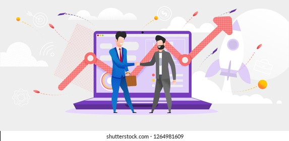 Illustration Man Made Deal with Financial Broker. Vector Screen Laptop Monitor Incremental Profit Growth. Increase Dividend. Online Job Trading Market. Purchase Shares Company. Rocket Taking off