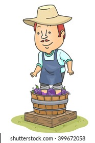 Illustration of a Man Making Wine from a Barrel of Grapes