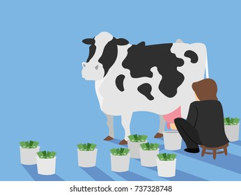 Illustration of a Man Milking a Cash Cow Concept