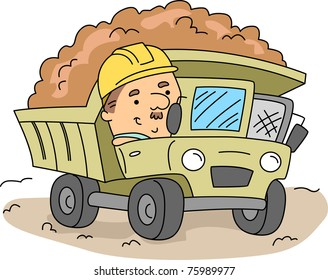 Illustration of a Man Operating a Land Mover