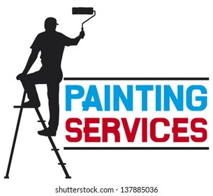 illustration of a man painting the wall