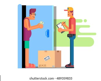 Illustration of man paying Cash on Delivery