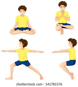 Illustration of a man performing the different yoga positions on a white background