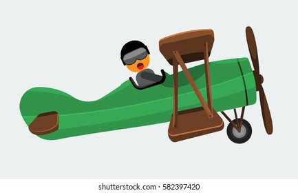 Illustration of a man pilot riding on a vintage plane on a white background. Vector illustration with flat and solid color design