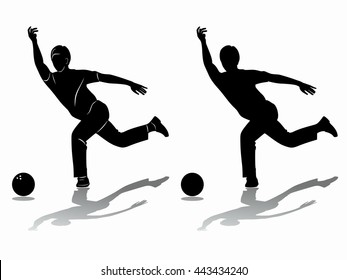 illustration of man playing bowling . black and white drawing, white background