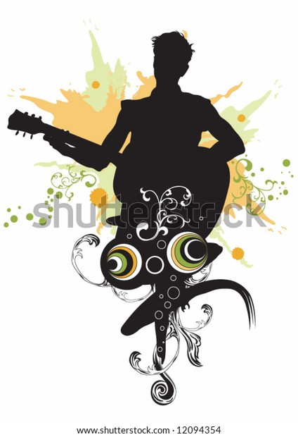 Illustration of a man playing guitar
