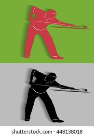 illustration of man playing snooker . color drawing, vector shadow
