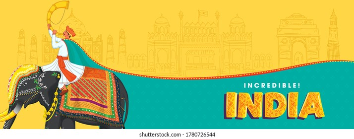Illustration Of Man Playing Tutari Sit At Elephant With Sketching Famous Monuments On Yellow And Turquoise Background For Incredible India.