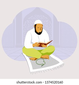 illustration of man reading Qur'an at mosque in Ramadan vector