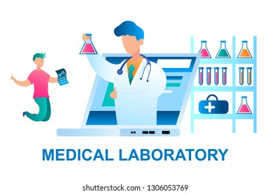 Illustration Man Rejoices Positive Result Analysis. Banner Vector Doctor in White Medical Gown, Online Reports to Patient Good Result Study. Medical Laboratory. Screen Monitor Laptop