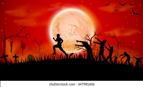 illustration of man ruuning out from crowd zombies near cemetery