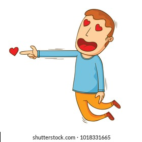 illustration of a man shoting a love from his hand