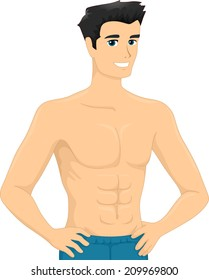 Illustration of a Man Showing His Six pack Abs