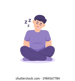 illustration of a man sitting cross-legged while sleeping or dozing off. due to fatigue. drooling. flat cartoon style. vector design