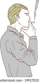 たばこを吸っている男性のイラスト。