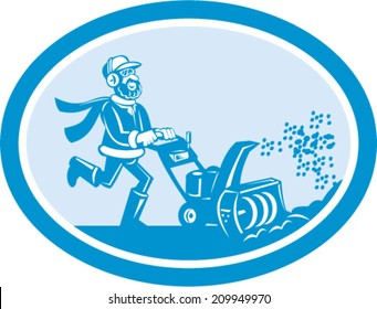 Illustration of man with snow blower set inside oval shape on isolated background done in cartoon style.