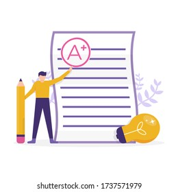 illustration of a man standing near a paper test while holding a pencil. the concept of getting the best grades, cum laude, smart student. flat design. can be used for elements, landing pages, UI.