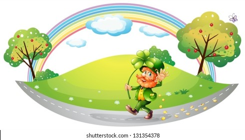 Illustration of a man in the street holding a clover plant on a white background