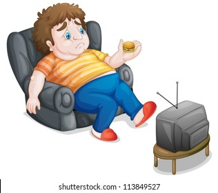 illustration of a man and television on a white background