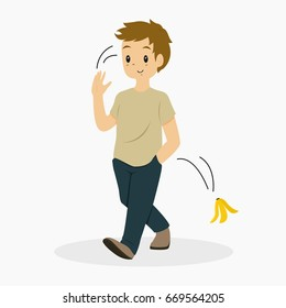 illustration of a man toss the banana peel he just ate earlier and walk away
