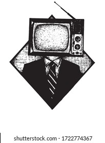 illustration of a man with a tv instead of a head