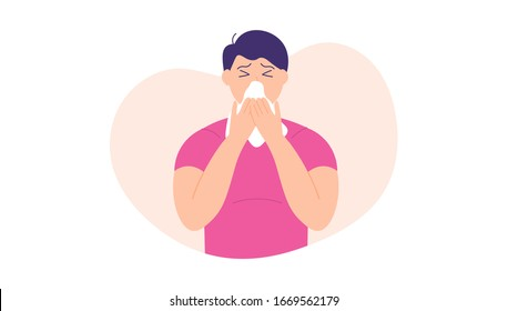 illustration of a man using tissue because he has a cold and flu. sneezing because of a virus. flat design