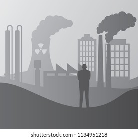 Illustration of a man viewing polluted city