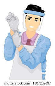 Illustration of a Man Wearing Gloves, Apron and Face Shield Getting Ready for Embalming