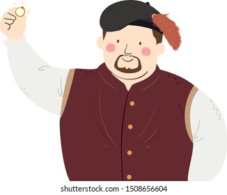 Illustration of a Man Wearing a Medieval Merchant Costume Holding a Ring