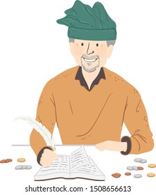 Illustration of a Man Wearing Medieval Tax Collector Costume Doing the Books and Using a Quill Pen