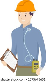 Illustration of a Man Wearing a Safety Hard Hat, Holding a Folder Tag Board and Using a Personal Air Sampling Pump to Check Air