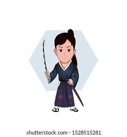 illustration of a man wearing samurai clothes, Ronin. holding a katana apart from its scabbard. Vector cartoons that can be used for caricature or mascot templates with plain backgrounds.