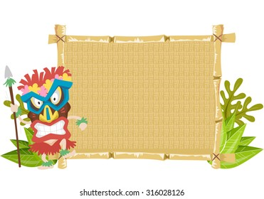 Illustration of a Man Wearing a Tiki Mask Standing Beside a Bamboo Banner