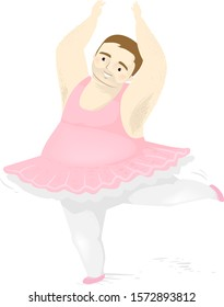 Illustration of a Man Wearing Tutu, Leggings and Ballet Flats with Arms and One Foot Raised and Dancing Ballet
